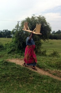 William's wife carrying a bench to worship in Usagara